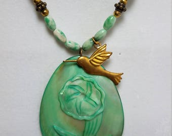 Green flower Cameo in Shell