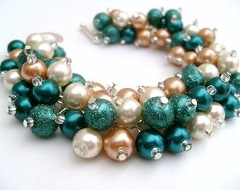 Bridesmaid Bracelet, Bridal Jewelry, Fall Wedding, Teal Pearl Bridesmaid Bracelet, Cluster Bracelet, Pearl Bracelet, Teal Jewelry, Ivory