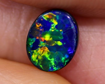 Top Gem Quality Doublet Black Opal Stone DD6