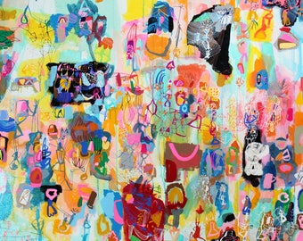 "Evening Landscape with Black Dog  - 72"" H x 80"" W gouache, acrylic  on canvas"