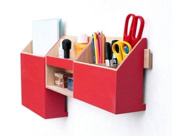 Wall Organizer Wood Red, Office Mail Wall Set, Pen holder, Office Mail box, Wooden home Desk organizer, Desktop storage set, Wall Red box