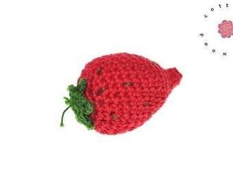 Crochet strawberry - 1 psc - 100% cotton - crochet fruit