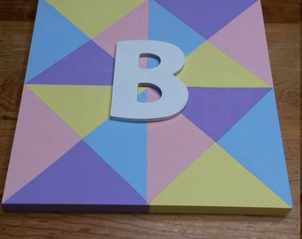 "Wood Quilt Block with Baby's Initial Wall Hanging 10"" Square"