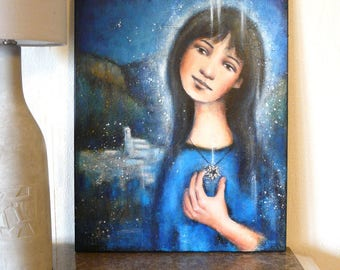 """Star worthy star St. Vincent woman pendant, painting """"under the protection of the Black Star"""""""