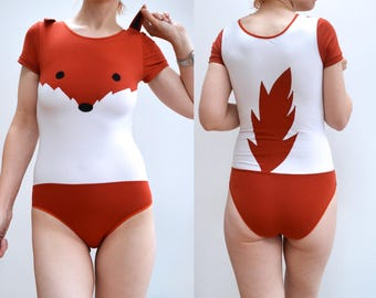 Fox bodysuit with ears and tail underwear costume