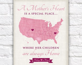 Valentines Gift for Mom, Mother Daughter Quote, Custom Map, Thank You Gift for Mom, Step Mom, Grandma, Great Grandma, Long Distance, Heart