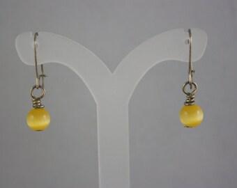 earrings, yellow earrings, cat's eye earrings, drop earrings, dangle earrings, hand made jewelry, handmade jewelry,