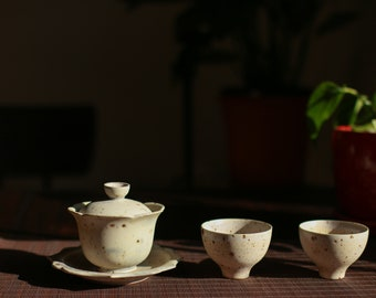 Handmade Floral Moonface Gaiwan Set