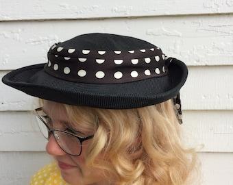 Polka Dot Hat Dark Navy Blue Summer Nautical Vintage Straw