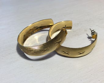 Gold Hoop Earrings~Antique Earrings~Vintage Hoop Earrings