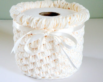 Bathroom Crochet Storage Baskets, Bone Cotton Bath or Nursery Storage Bins, Unique Yarn Bowl, Makeup Storage, Fancy Toilet Paper Holder