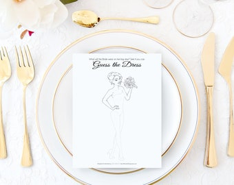 Unique Bridal Shower Game - Guess the Dress Printable Game - Wedding Shower Game - Bridal Shower Game - Instant Download