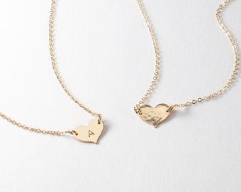 Little gold heart necklace - personalized jewelry - stamped necklace
