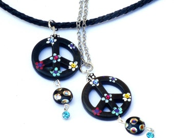 Peace Sign Necklace Hand Painted Flowers Funky Boho Hippie Jewelry FREE SHIPPING