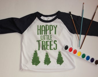 Bob Ross Happy Little Trees Raglan Shirt Toddler