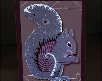 """Squirrel 4.25"""" x 6"""" Blank Greeting Card"""
