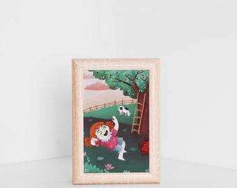 Postcard, nursery wall art, tiny print, Jade with cherries, tiny postcard, children illustration, for kids, pink stationery, nursery card