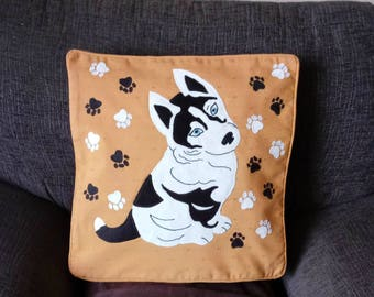 Husky puppy pillow, cushion cover, handmade, applique, animal, pet, dog