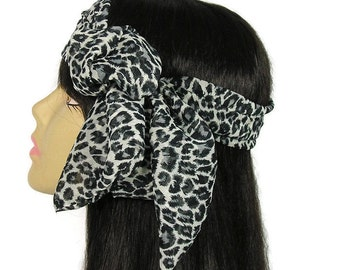 Leopard Print Chiffon Skinny Scarf Headscarf Gray Leopard Print Neck Scarf Leopard Hair Scarves Gray Leopard Head Scarves Animal Print Scarf