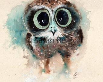 Little Night Owl - Gorgeous Vibrant Print of an original painting, watercolour print, poster