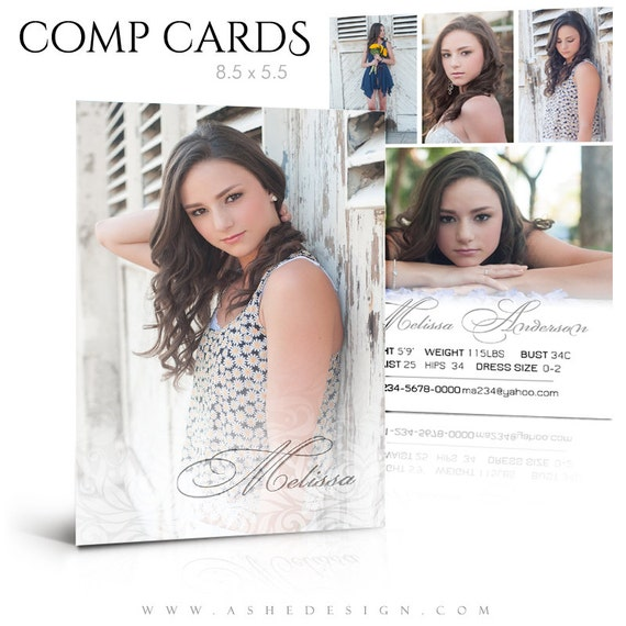 Modeling Comp Card - A TOUCH Of CLASS - 8.5x5.5 Press Printed Flat ...