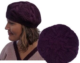 Wool Knit Hat for Women - Pure Wool Hand Knit Hat -. Dark Plum Knit Winter Hat - Purple Cable Knit Hat - Womens Winter Hat -Karuna Himalaya.