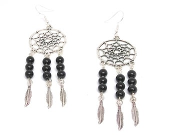 Black Obsidian Dream Catcher Earrings