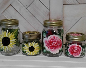 Hand Painted Pint and Half Pint Mason Jars, Sunflowers or Roses, Lids included, Storage Jars, Bathroom or Kitchen Storage Jars,