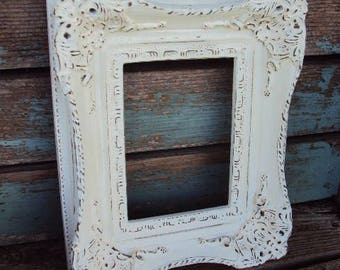 Vintage Shabby Chic frame Baroque Wood Gesso Frame French Chic Distressed Chippy Paint in Antique White Ornate decorative display