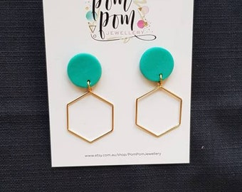 Handmade polymer clay turquoise and gold dangles