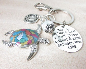 Sea Turtle Keychain, Turtle Keyring, Beach Keychain, Car Accessories, Cute Turtle Keychain, Personalized Keychain, Beach Quote Gift