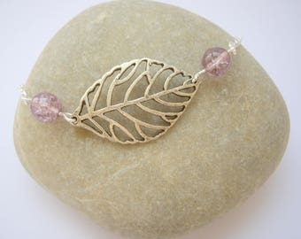 Silver leaf bracelet and Pearl - colored Metal