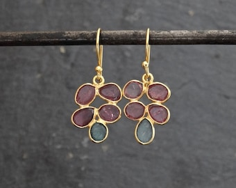 Tourmaline Earrings, Gold and Tourmaline Drop Earrings, October Birthstone, Gemstone Earrings, Tourmaline Jewellery, Gold Vermeil