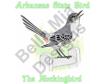 Bird - Machine Embroidery Design, Mockingbird, Arkansas State Bird