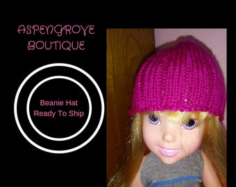 14 inch doll beanie doll hat knit hot pink glitter ready to ship