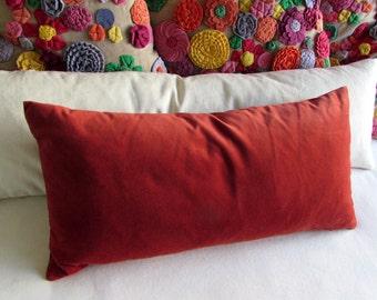 TERRACOTTA velvet lumbar bolster pillow 13x26