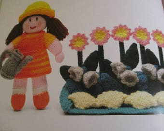 Handmade Knitted Mary, Mary Quite Contrary Nursery Rhyme Doll And Plant Border (New, Made To Order) 3+
