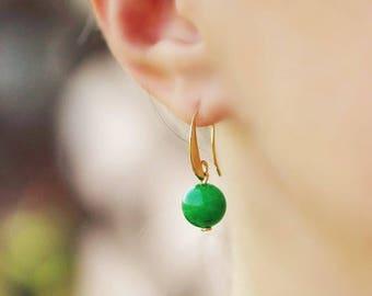 Green Agate Earrings Green Gold Earrings Classic Earrings Green Earrings Small Earrings Agate Earrings Bright Green Earrings Agate Jewelry