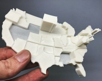 3D Printed Map | Infographic Fridge Magnet | Lottery Spending Data Visualization