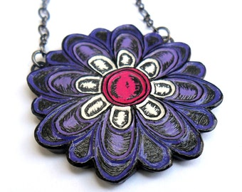 Purple Flower Necklace  - How Does Your Garden Grow  Bloom No. 3