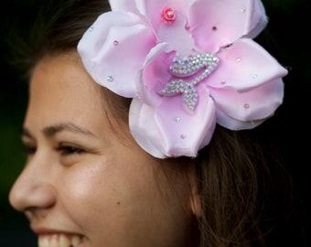 Nymphet Rosette, pink mermaid rose hairpiece