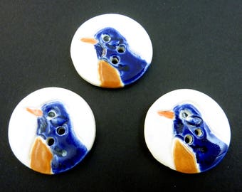 """3 Blue Bird  Handmade Ceramic Sewing Buttons.  1 1/4"""" or 33 mm Round."""