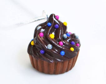 Schokolade Cupcake Streusel Halskette, Polymer Clay, Fimo