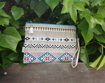 Great Bohemian printed cotton pouch, Creation marie' i'magine
