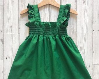 Girls Summer Outfit, Girls Green Dress, Girls Summer Dress, Green Toddler Dress, Vintage Style Girl Clothing, Baby Sun Dress