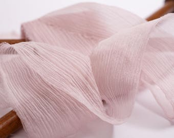 hand-dyed, crinkle chiffon silk ribbons in pinky mink, stationery ~ weddings ~ bouquets ~ gifts ~ paper crafts ~ styling