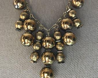 gold hematite & brass bead collar