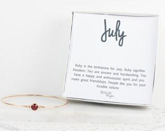 July Birthstone Gold Bracelet, July Birthstone Swarovski Gold Bangle Bracelet, Ruby Gold Bangle, Gold Bracelet, Birthstone Bracelet, #773
