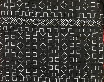 Vintage indigo geometric print