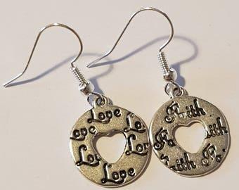 Handmade love and faith earring
